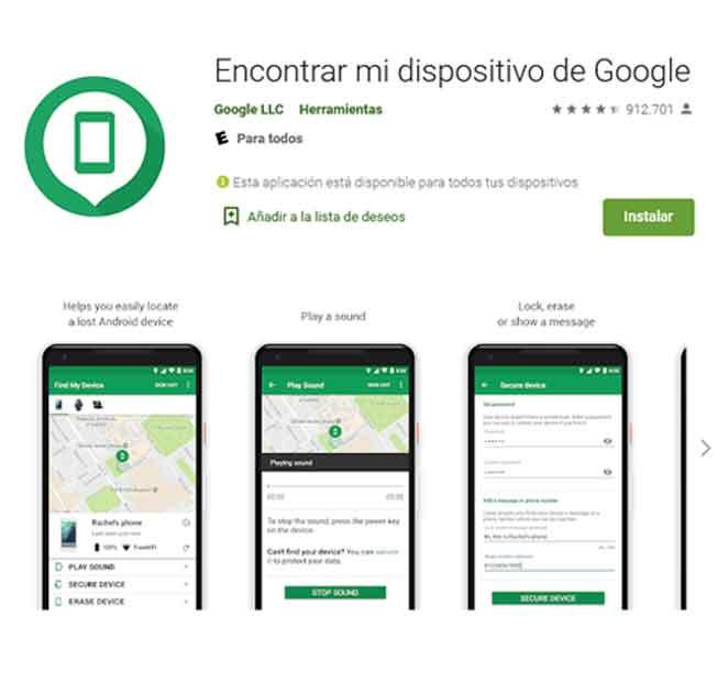 Localizar celular con Google App