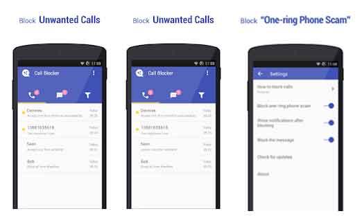 Identificar llamada con Call Blocker Free Blacklist
