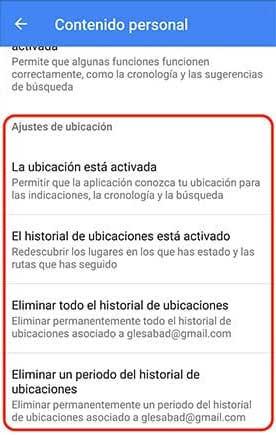 Eliminar el historial de ubicaciones de Google Maps