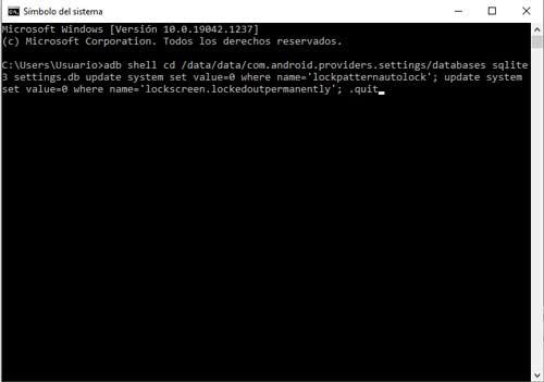 Desbloqueo del patron de seguridad en Android